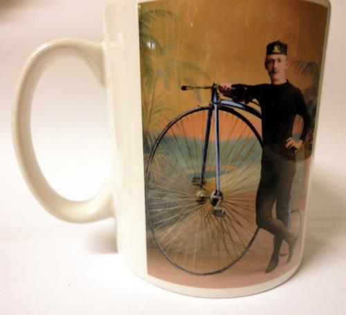 Mug with Ordinary and Rider at National Cycle Museum Shop Mid Wales