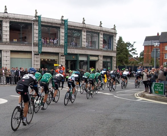 The Tour of Britain Race Stage passing the National Cycle Museum